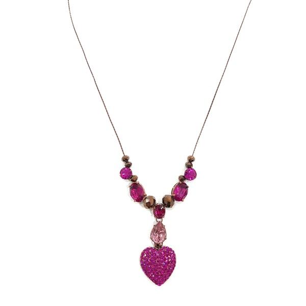 Conjunto Brinco com colar de coração fuchsia 13512