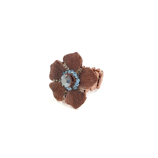 Anel de flor vintage azul 13518