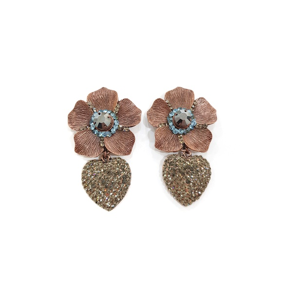 Maxi brinco de flor com pingente de coração 13519