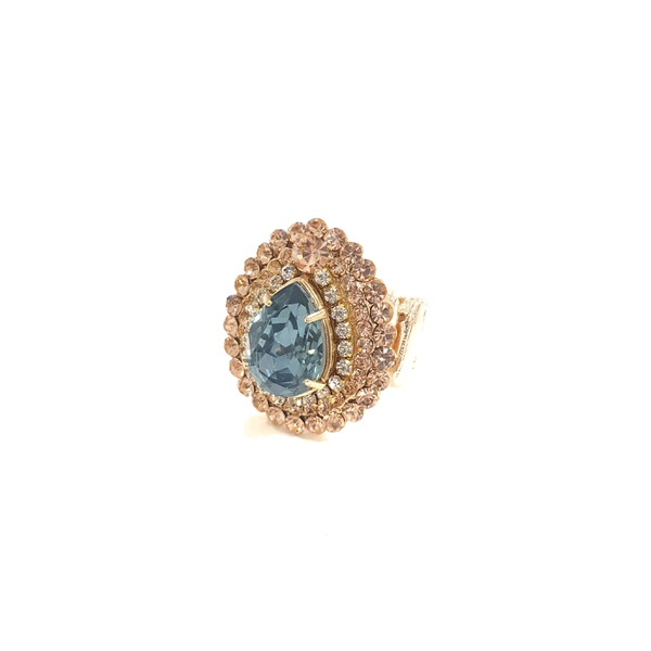 Maxi anel dourado com gota azul 13522