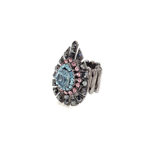 Anel com pedras rosas e azuis 13530