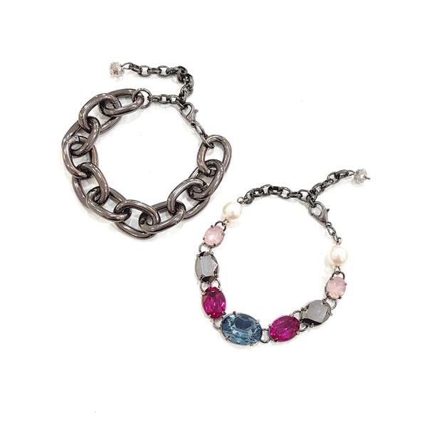 Mix de pulseiras coloridas com elos grafites 13532