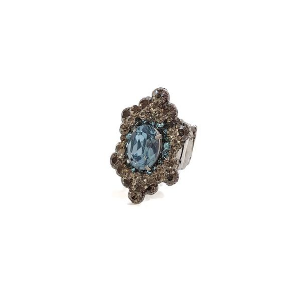 Anel com pedras black e azul 13546