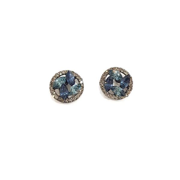 Brinco pequeno com pedras azuis 13547
