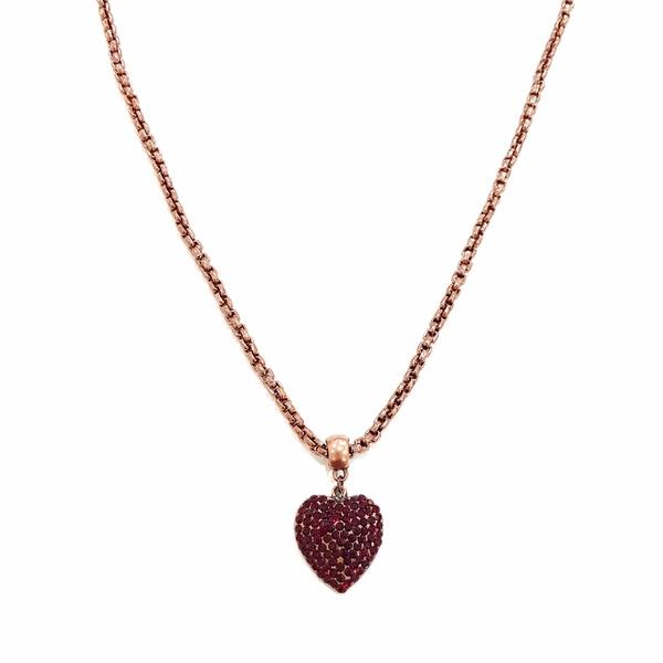 Colar coração vermelho banho vintage 13548