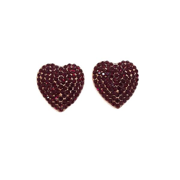 Brinco de coração vermelho vintage 13549