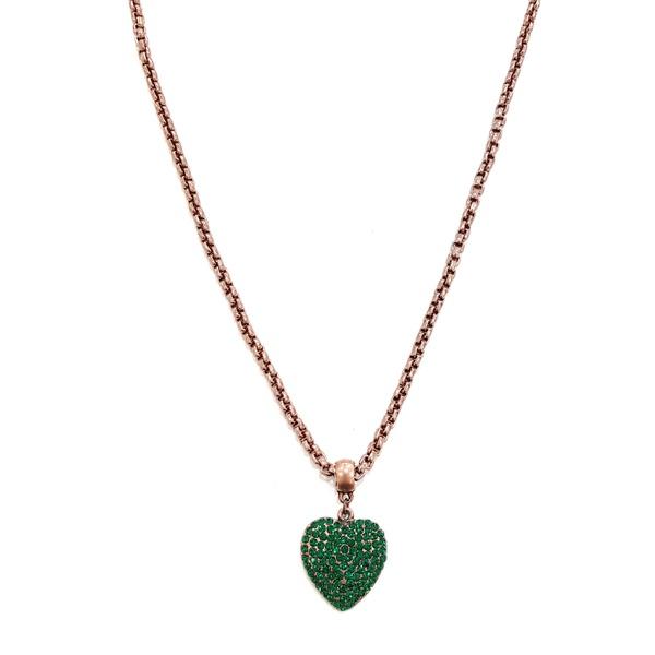 Colar de coração verde esmeralda banho vintage 13550