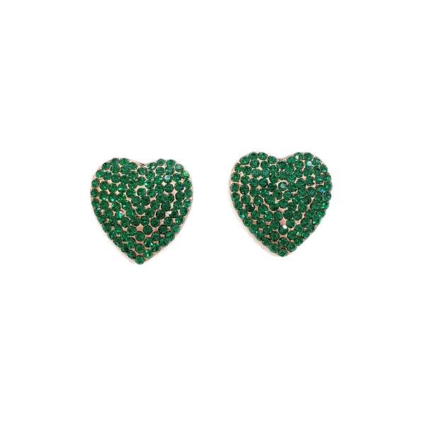 Brinco de coração verde esmeralda vintage 13551