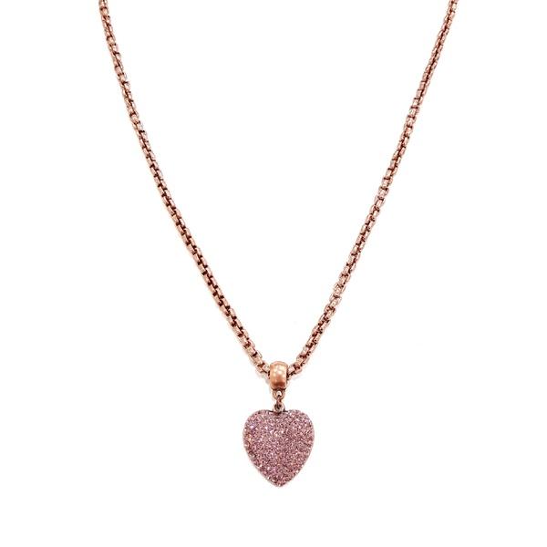 Colar de coração lilás vintage 13552