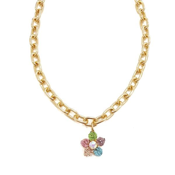 Colar flor colorida com elos dourados 13554