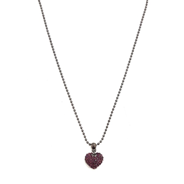 Conjunto colar coração e brinco ametista 13570