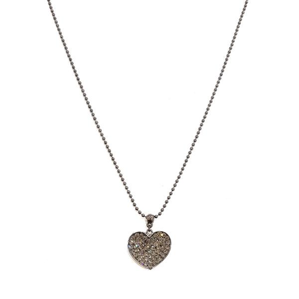 Conjunto colar coração e brinco black 13571