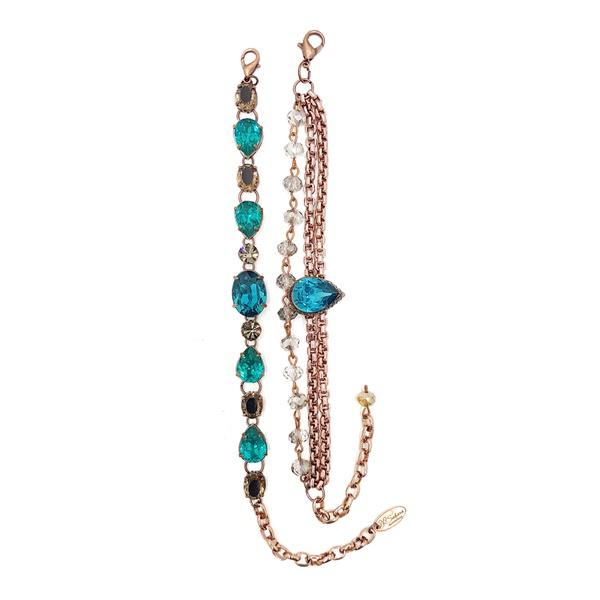 Mix de pulseiras com pedras azuis 13597