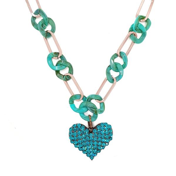 Maxi colar com coração azul 13600