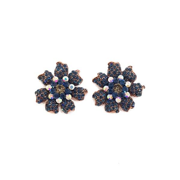 Brinco de flor azul marinho 13602
