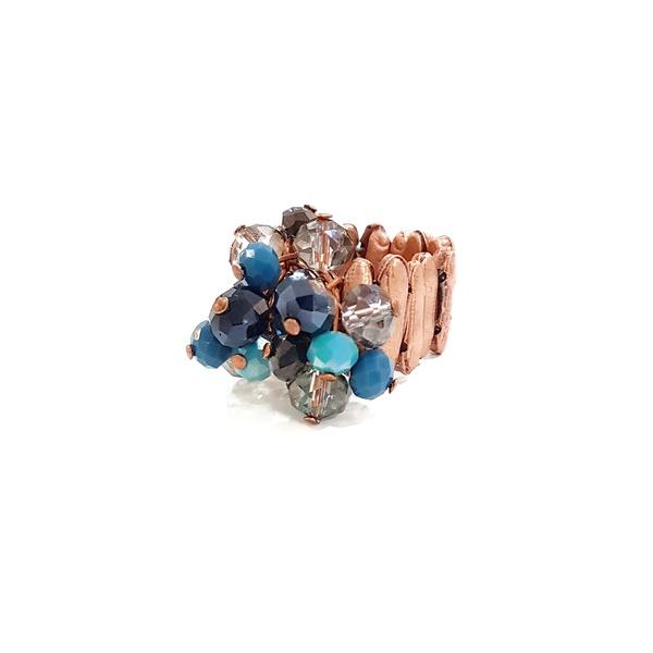 Anel com cristais azuis 13608