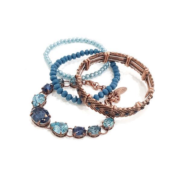 Mix de pulseiras azuis banho ouro vintage 13609