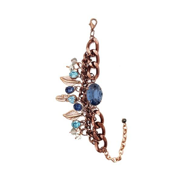 Pulseira vintage com pedras azuis 13610