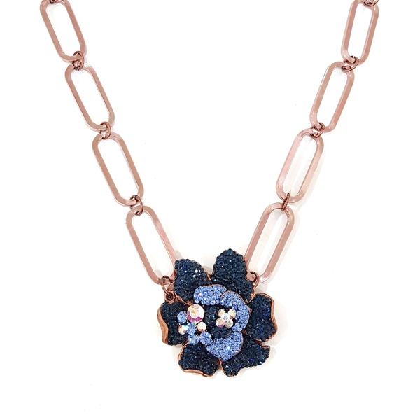 Maxi colar com pingente de flor azul 13613