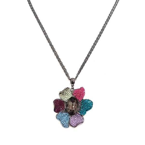 Maxi colar de flor colorida 13623