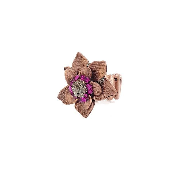 Anel de flor fucsia 13634