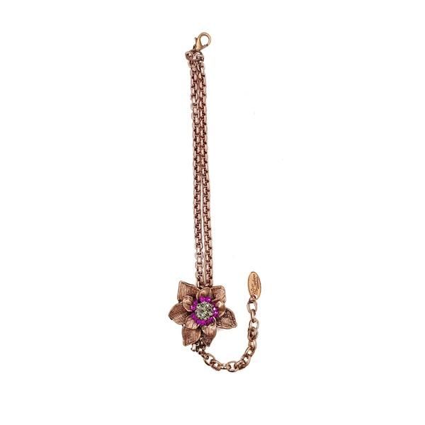 Pulseira vintage com pingente de flor 13635