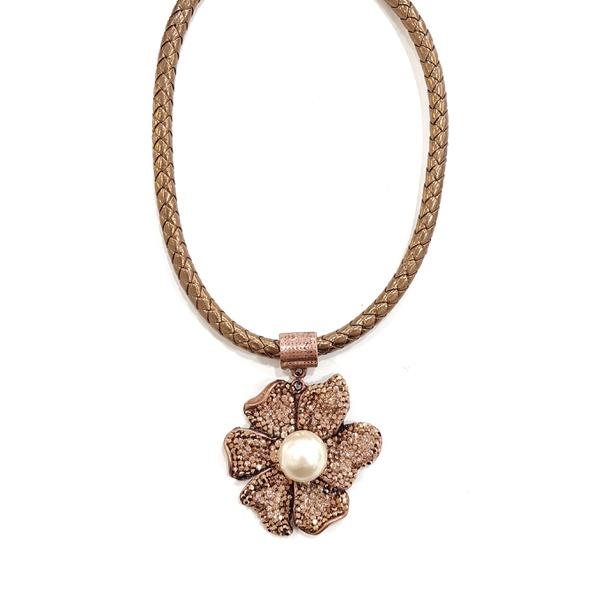 Maxi colar com pingente de flor e perola 13642