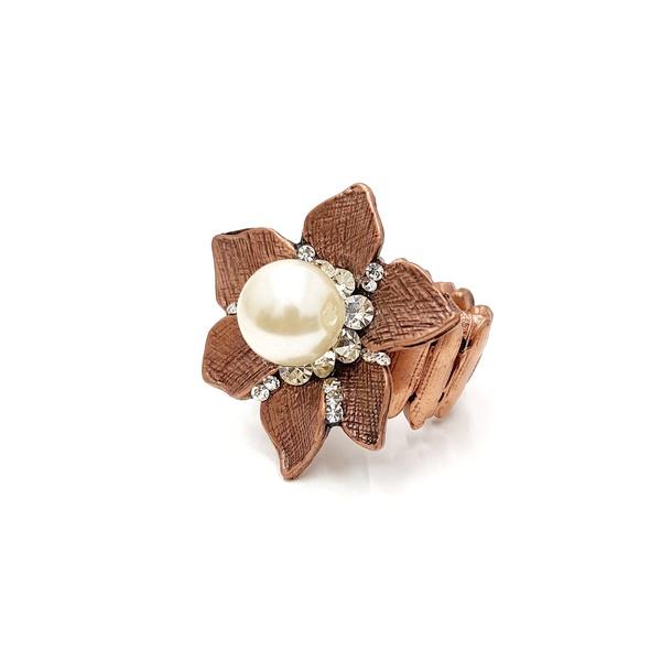 Anel de flor com pérola 13648