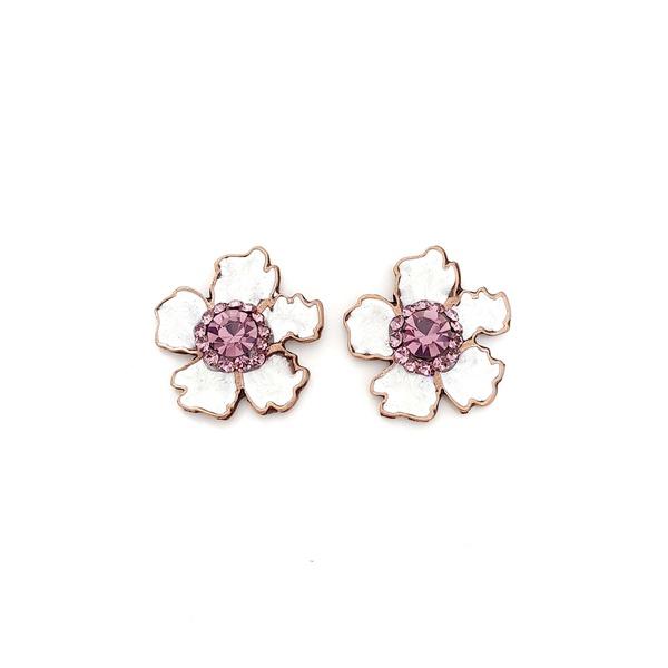 Brinco de flor esmaltada lilás 13662