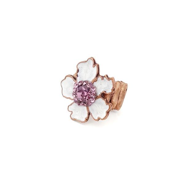 Anel de flor esmaltada em branco com pedras lilás 13665
