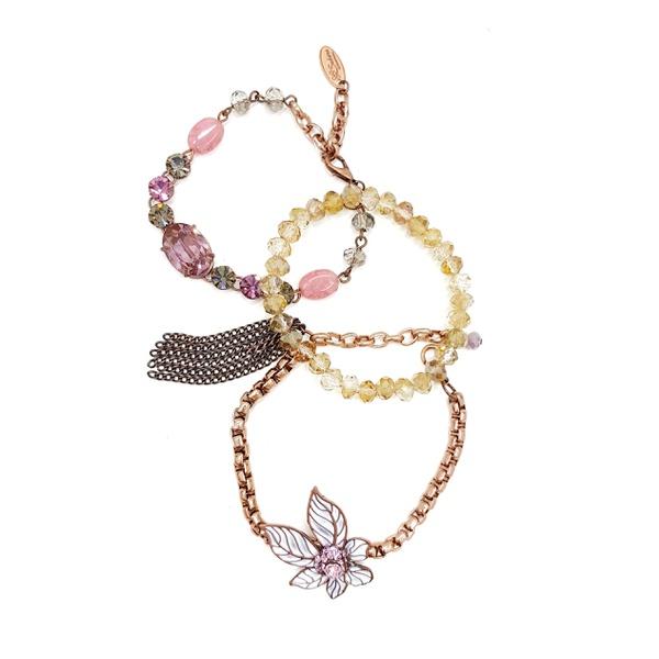 Mix de pulseiras rosa com pingente de flor 13666