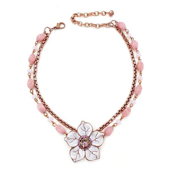 Colar de flor com pedras rosas 13669