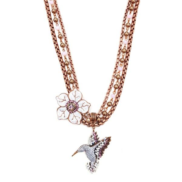 Maxi colar de flor com beija flor 13670