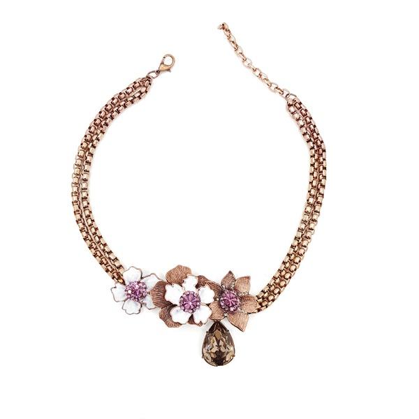 Maxi colar flores e pedras lilás 13671