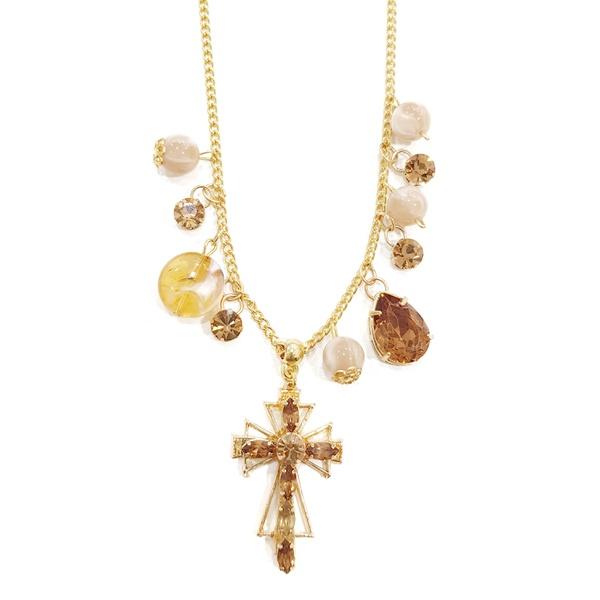 Colar Longuinho Dourado Com Crucifixo, Pedras Acrílicas e Strass