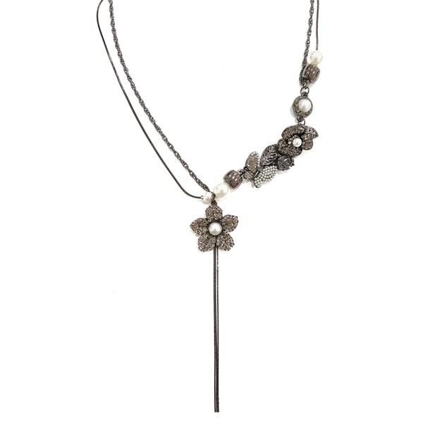 Colar Flores e Borboleta Black Diamond com Pérolas