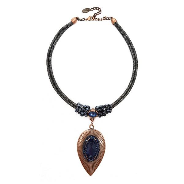 colar vintage com azul 12263