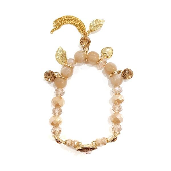 Pulseira Dourada com Pedras, Franjas e Pingentes na Cor Light Peach