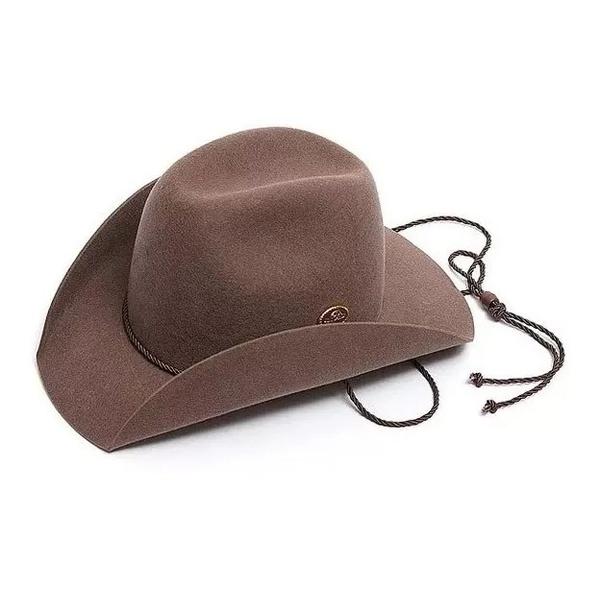 -Chapéu Pralana Kid Castor, 100% lã cor castor,aba de 7 cm, Copa 10 cm,com barbela e carneira elástica