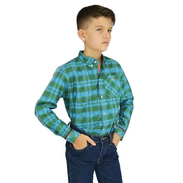 Camisa Manga Longa Xadrez Laço Verde Infantil - 89... - Salomão Country