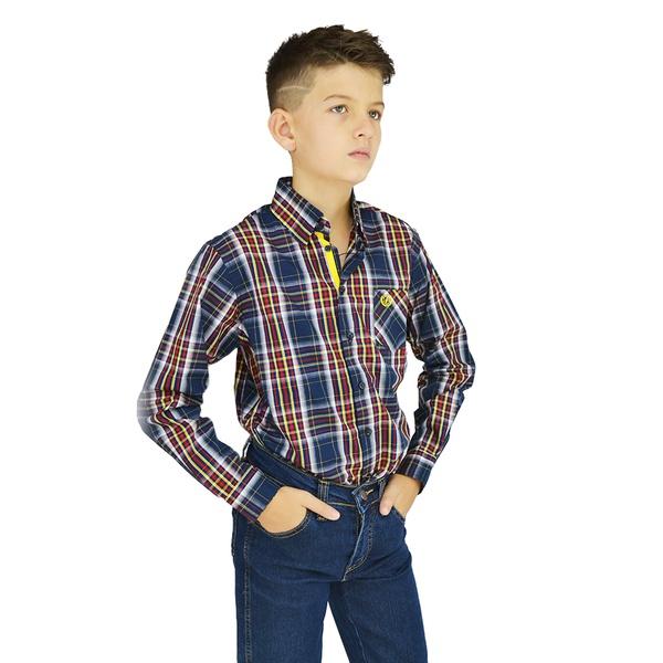 Camisa Manga Longa Xadrez Dock's Infantil - 89754 - Salomão Country