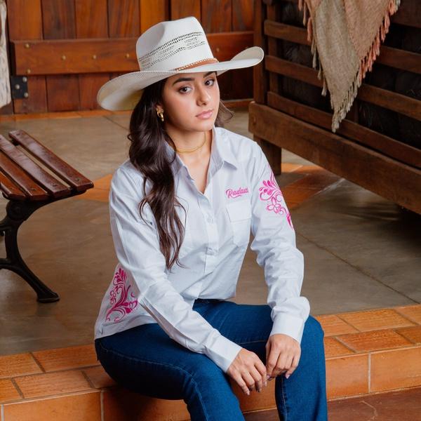 Camisa Radade Bordada Butterfly Branca Feminina - ... - Salomão Country