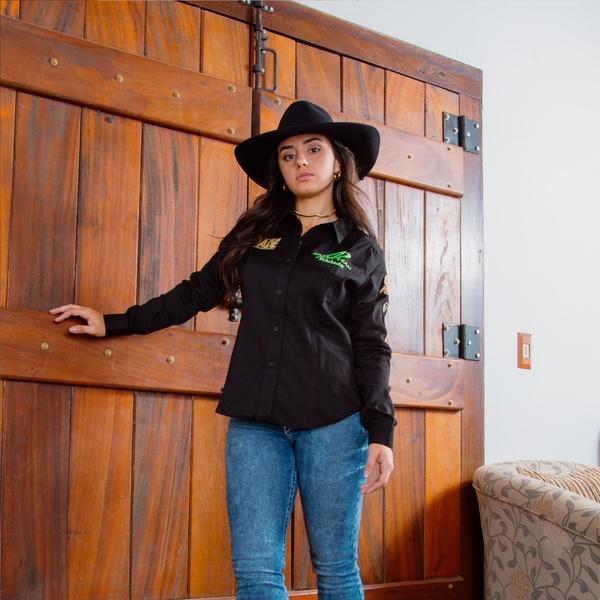 Camisa Radade Bordada Green Team Preta - 90352 - Salomão Country
