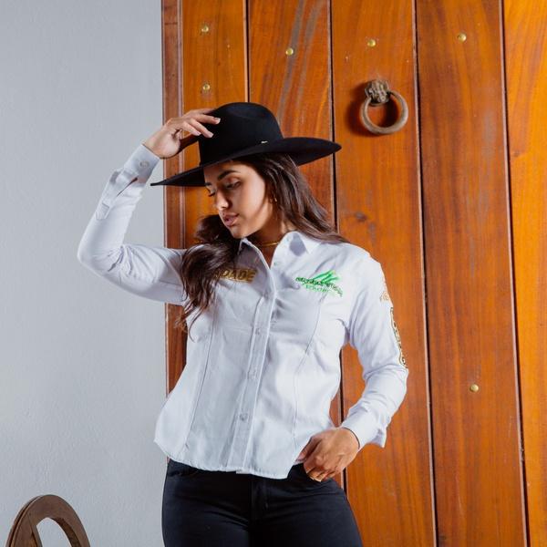 Camisa Radade Bordada Green Team Branco - 90353 - Salomão Country
