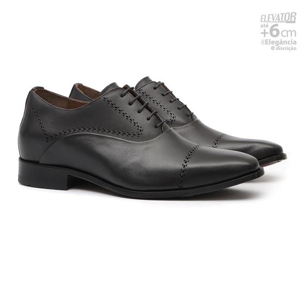 Sapato Clássico Masculino Elevator Derby Jaguar Preto Samello