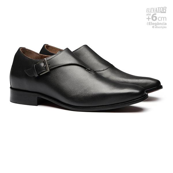 Elevator Social s/c TIGUAN Preto - Sapato Masculino Monkstrap Samello