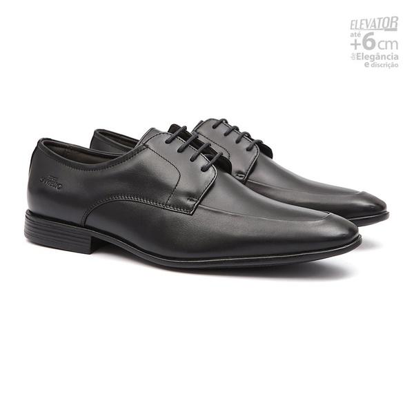 Elevator Social IMPÉRIO Preto - Sapato Masculino Oxford Samello