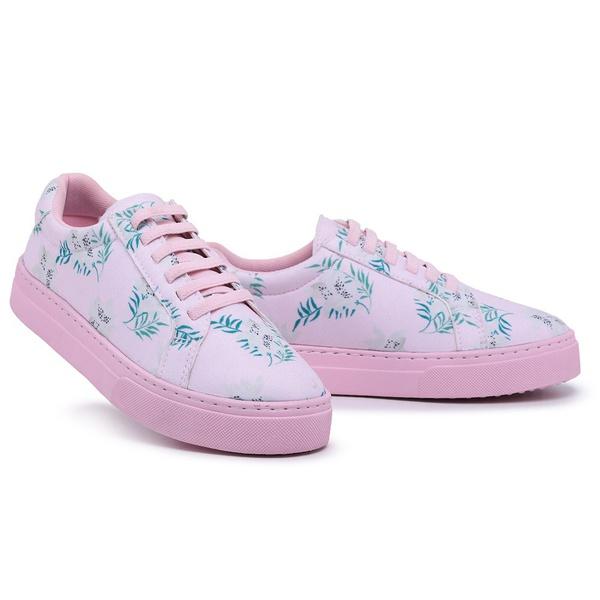 Tênis Sândalo Feminino Lona Flora Pink