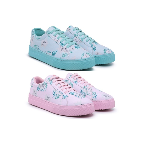 Kit 2 Tênis Sândalo Feminino Lona Flora Blue e Pink