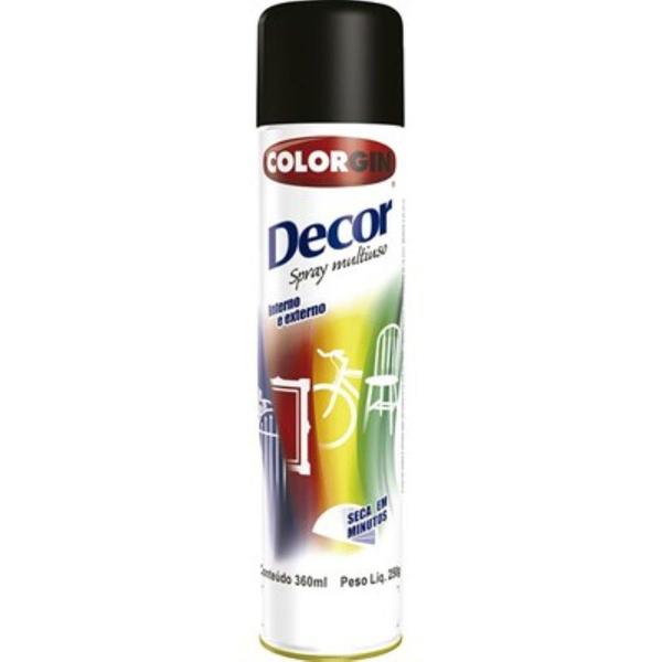 Tinta Spray Preto Fosco 360ml 8711 Decor Colorgin